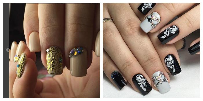 дизайн ногтей со стразами 2