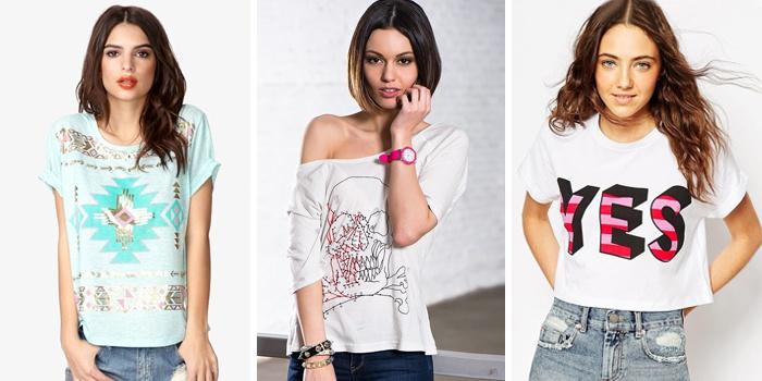 футболки с принтами и однотонные модели