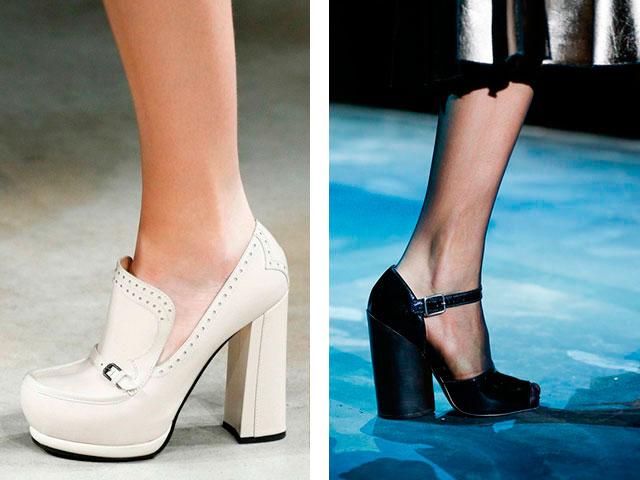 Фото модных туфель на толстом каблуке