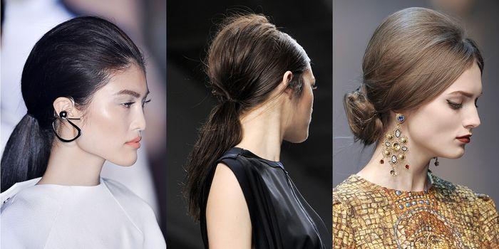 собранные назад волос