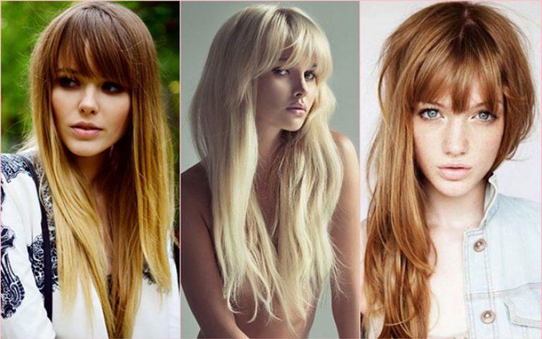 Фото модных стрижки на длинные волосы с челкой