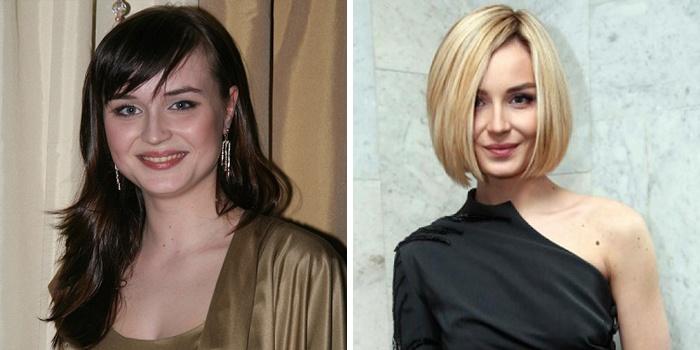 модные средние стрижки до и после посещения салона красоты фото 2