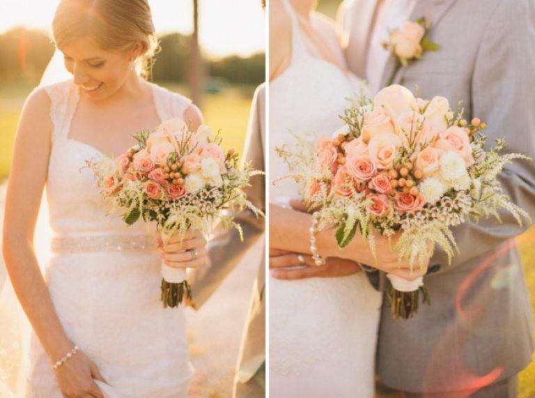 Свадебный букет персиковый цвет