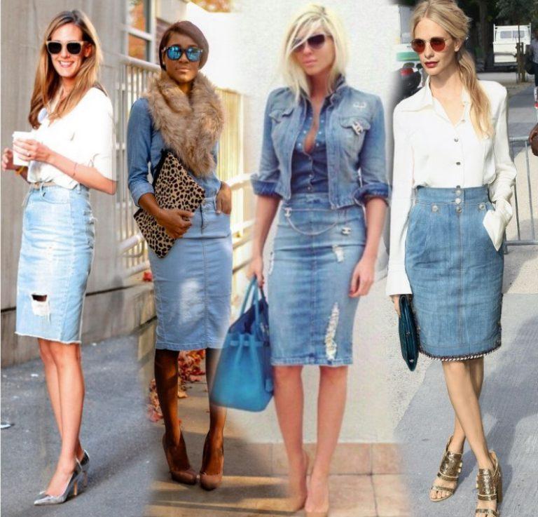 Джинсовые юбки 2017 года модные тенденции фото купить белую блузку для девочки в школу