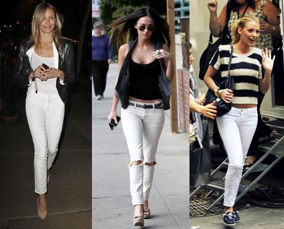 с чем носить белые и голубые джинсы лето 2017, фото 4