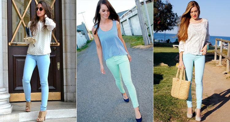 с чем носить белые и голубые джинсы лето 2017, фото 6
