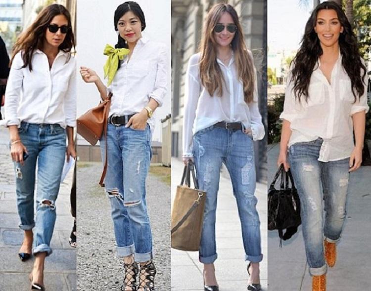 рваные джинсы и заправленная рубашка 3