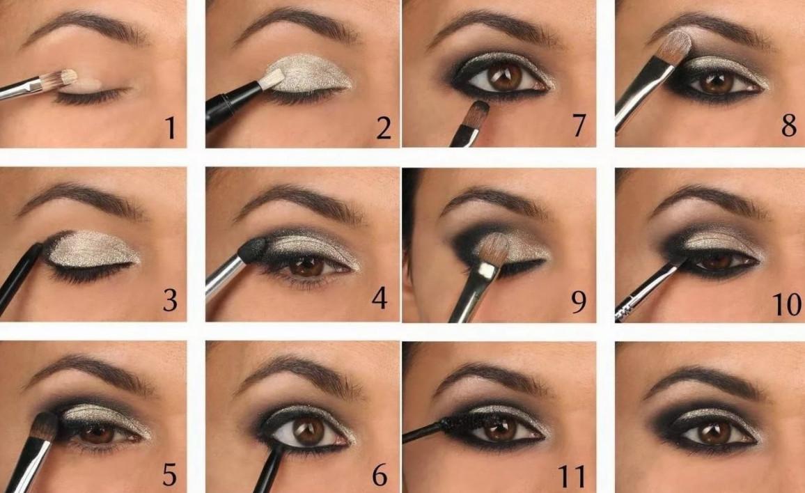 Лучшим вариантом вечернего макияжа для кареглазых девушек будет привычный смоки-айс в переливе от светло-бежевого к темно-шоколадному оттенку или черному. Пошаговая инструкция его создания - на фото.