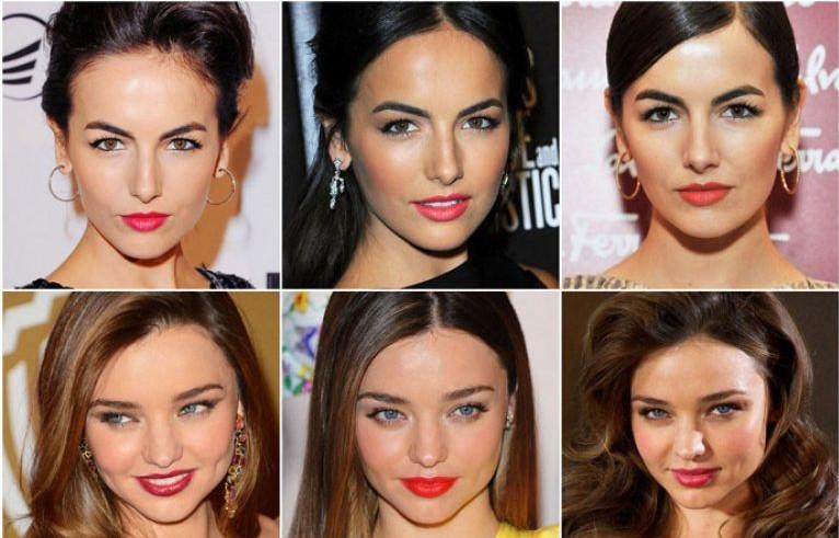 Приступая к макияжу губ, обратите внимание на свои волосы, чем они темнее, тем ярче может быть помада и наоборот. Сопоставьте цвет своих локонов с цветом девушек на фото, чтобы не допустить оплошности при создания летнего вечернего мейк-апа.