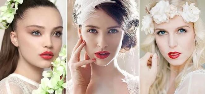 Трендовый свадебный макияжс акцентом на ярких губах