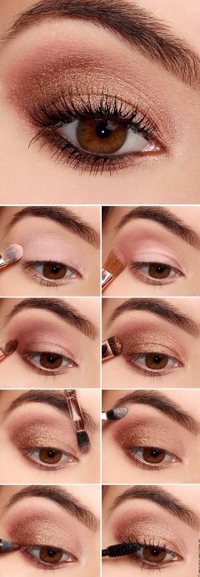 Фото пример пошагового создания дневного дымчатого макияжа для карих глаз с золотистым блеском