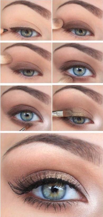 Фото с пошаговым нанесением дневного макияжа на серо-зеленые глаза