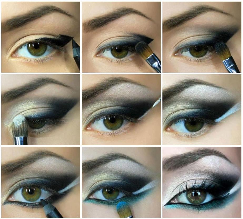 Вечерний макияж предполагает выбор более насыщенной цветовой палитры теней, их может быть несколько, важно лишь правильно пошагово их наносить и растушевывать, добиваясь идеального эффекта, как на фото