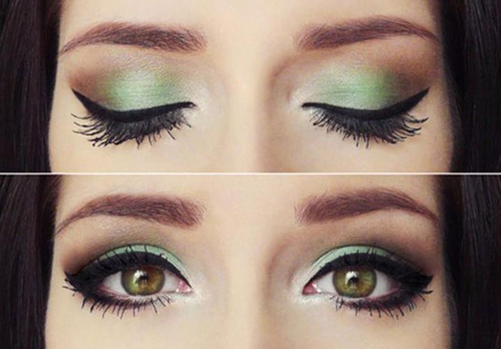 Фото макияжа для зелено-карих глаз