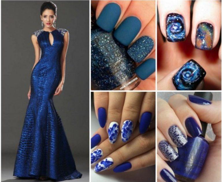 Маникюр под синее вечернее платье