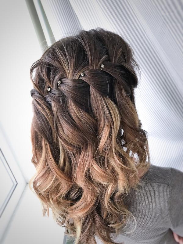 коса водопад на основе локонов