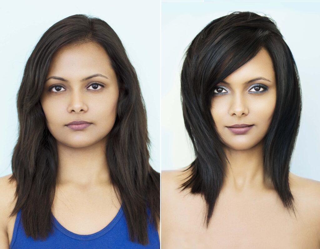 стрижка на средние волосы до и после посещения салона красоты